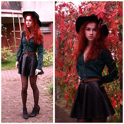 Ikanu _ - Claire's Cross Pendant, Stradivarius Fedora Hat, H&M Dark Greed Shirt, Romwe Pu Leather Skirt, Graceland Lace Boots, Jeffrey Campbell My Mom's Old Belt - Wine_gun_cross