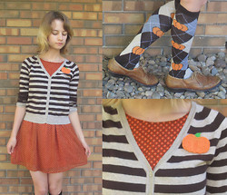 Sophie G - Diy Pumpkin Patch, Forever 21 Orange Dress, Forever 21 Striped Sweater, Pumpkin Socks - Pumpkin Pie