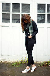 Tonya S. - Madewell High Riser Jeans, Madewell Plaid Scarf, Jeffrey Campbell Boots - The Moptop X Madewell