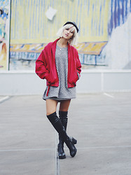Mikuta - Mango Hat, H&M Sweater, Topshop Boots - Red and boots