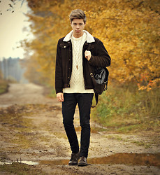 Edgar - Pull & Bear Brown Leather Shoes, Zara Black Pants, Ebay Black Leather Backpack, H&M White Cable Knit Jumper, Topman Triangle Necklace, Primark Brown Suede Bomber Jacket - I CAN FEEL THE AUTUMN'S IN THE AIR