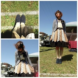 Jennifer Hankin - David Lawrence Striped Coat, Home Made Skirn, David Lawrence Tulle Petticoat, Kmart Navy Shoes, Thrifted Yellow Shirt - Market madness