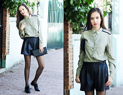 Mariya Marinova - H&M Leather Shorts, Zara Shirt - Military.