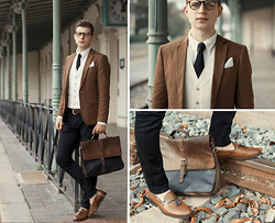 Ollie Chvila - Mr. B's Loafers, Asos Satchel, Zara Waistcoat, Nick Bronson Knit Tie - The Last Train left in the 30's