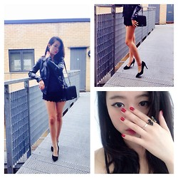 Helen Wang - Asos Pointed Heels, & Other Stories Shoulder Bag, Zara Leather Jacket, All Saints Cami, Zara Lace Shorts, Purchased In Taipei Ring - Femininity in all black