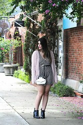 Emilie Sobel - Zara Playsuit, Penny's Fuzzy Sweater, Forever 21 Boots - Fuzzy Sweater Weather