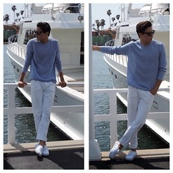 Brandon Beltran - Ray Ban Ray Bans, Calvin Klein Sweater, Levi's® Jeans, Vans Shoes - A Walk at the Docks