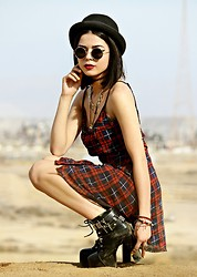 KENDALL SANCHÈZ - Forever 21 Black Cap, Lennon Sunglasses, Tangled Up In Plaid Dress, Jet Setter Platform Boots - .Tangled Up In Plaid.