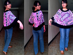 "Teapot Potato - Ka Hing Jeans, Jelly Shoes, Borrowed From Sister ""Poncho"", Printed Scrunchie - Poncho Loco"