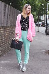 Jaclyn - Asos Pink Cardigan, Asos Jewelled Hairband, Vintage Polkadot Top, Asos Cigarette Trousers, Nike Metallic Trainers, Zara Clutch Bag, Shore Projects Watch - Pastel Perfect