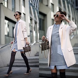Tina Sizonova - Lattori Dress, Onna Ehrlich Bag, Frontrowshop Coat - Little Grey Dress
