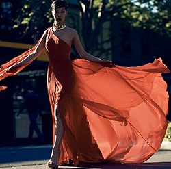 Cissy Zhang - Fame & Partners Long Orange Dress - Glam on the street
