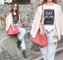 Mayo Wo - Monki Sunnies, Monki Pale Pink Coat, B + Ab Print Tee, Coach Borough Bag, Choies Ripped Jeans, Sophia Webster Dora Boots - A cat's life