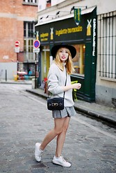 Typhaine - Catarzi Hat, Bdg Sweater, Cooperative Skirt, Asos Bag, Craie Shoes - Vichy