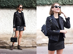Trini Gonzalez - Ray Ban Sunglasses, The Kooples Leather Jacket, The Kooples Dress, Chanel Bag, Isabel Marant Boots - Fall 2014