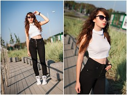 Sylwia K. - Choies Top, Outfitters Nation Pants, Adidas Extaball - I do not wanna be afraid.