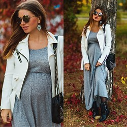 Inessa Melnik - Amisu Jacket, Kd Boots, H&M Dress, Zara Bag - Pregnant rock