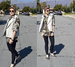 Bethany R. - Faux Leather Vest, Camoflage Flannel, American Apparel Leggings - Neutrals