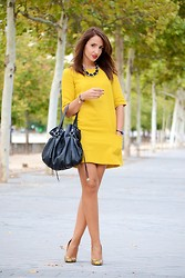 Silvia Rodriguez - Promod Dress, Tous Bag, Zara Stilettos - Mustard dress