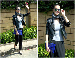 Amina Allam - Giant Vintage Mirror Sunnies, Smalto Scarf, Tide She Studded Faux Leather Jacket, In Love With Fashion Harem Pants, Venise Bijoux Bracelet, Melany Brown London Envelope Clutch, Fendi Flats - Hello my friends :)