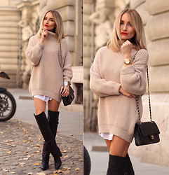 Silvia P. - Guess? Sweater, H&M Boots, Chanel Purse, Dkny Watch - 50  shades of beige