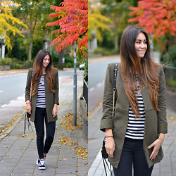 Larissa Verbon - Coat, Oasap Striped Top, Bershka Jeans, Rebecca Minkoff, Vans Sneakers, Comegetfashion Statement Necklace - Fall Colors