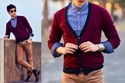 Johansen Aguilar - Celio Maroon Cardigan, Folded And Hung Denim Button Down, Celio Brown Khaki Pants, Sledgers Brown Leather Shoes - Chill Out