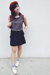 Lee Le - Treadledoo Checkered Scallop Crop Topx, Cos Denim Skirt, Jeffrey Campbell White Oxfords, Bangkok Red Bowler, Longchamp Bagpack - 2300