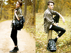 Przemek S - Second Hand Jacket, No Name Backpack, H&M Basic Shirt, No Name Skinny Jeans, Dr. Martens Shoes - Run boy, run...