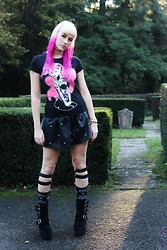 Susan Dollparts - Too Fast Punk Ariel Shirt, Topshop Leather Studs Skirt, Too Fast Garter Socks, Shusole Platform Shoes - TOO FAST