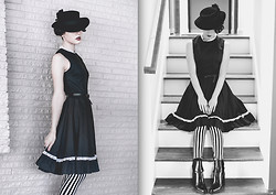 Ama Hatheway - Vintage Black Flat Brim Boater, Forever 21 Black Lace Flower Pin, Vintage White Lace Trim Black Flared Dress, Always B&W / Black And White Beetlejuice Striped Leggings, Mia Black Almond Toe Booties - ::: Beetle Deetz :::