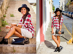 Nydia Enid - Forever 21 Plaid Red Shirt, Forever 21 Gray Leather Shkirt, Forever 21 Pointy Ankle Boots - Sunday Brunch