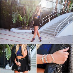 Jessi Malay - Alc Blake Studded Leather Jacket, Zara Lace Up Booties, Chanel Boy Bag, Princess Polly Lover Skort, Club Monaco Studded Belt, Saboskirt Palace Lace Top - Hey Stud | ALC Blake Leather Jacket