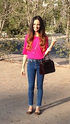 Amani Ghareeb - Forever 21 Layered Gold Necklace, Iconic Fuchsia Blouse, Asos Ridley High Waist Ultra Skinny Ankle Grazer Jeans In Mottled Acid Wash With Raw Hem, Guess? Guess Leopard Flats - Pink & Gold