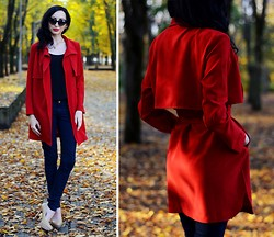 Kary Read♥ - Chic Wish Trench Coat - Red Autumn♥