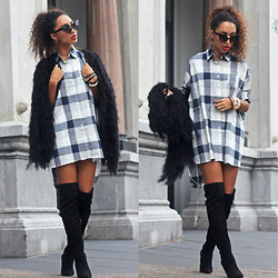 Larissa B. - Duoboots Suede Over The Knee Boots In Black, Yesstyle Tartan Dress Blue White, Modemusthaves Black Fluffy Coatigan - Cover up