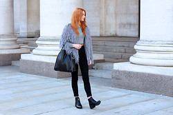 Hannah Louise - Blue Vanilla Shaggy Jacket, Topshop Grey Crop Long Sleeve, Missguided Studded Bag, Ark Jeans, Public Desir Pointed Boots - Shaggy Jacket