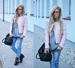 Aneta M - Sheinside Jacket, Choies Jeans, Labotti.Pl Boots - LIGHT PINK