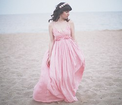 Xenia Warrior - Accessorize Pink Floral Crown, Curly Haistyle, Natural, Light, Nextshe Pink Bohemia Maxi Dress, Black Sea - The Drowning Ghost