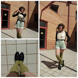 Jennifer Hankin - Sports Girl Socks, Home Made Apple Shorts, Thrifted Lace Shirt, Glassoons Polka Dot Cardigan - Apples and lace