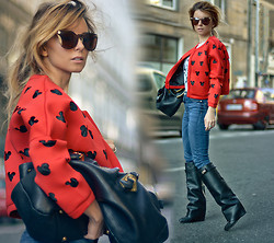 Pola D. - Choies Jacket, Cubus High Waisted Jeans, Prada Tote Bag, Givenchy Boots - Mickey is red