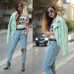 Louise Xin - Mesh Top, Gina Tricot Mint Leather Jacket, Rebecca Stella For Nelly Boy Friend Jeans, Nelly Green Heels - Never coast