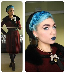 Scarlet Leigh . - Vintage Dress, Vintage Gloves, H&M Boots, Thrifted Faux Fur, Handmade Bow And Watch Necklace, Handmade Bird Skull Earrings, Custom Mixed By Myself Navy Blue Lipstick - With your baronial motif / Mankind at your feet