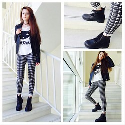 Ghada Morjan - Topshop Leggings, H&M Boots, Forever 21 Leather Jacket, Forever 21 Meow Cat Shirt - Meow!