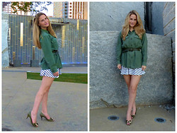 Arielle K - Vintage Us Army Shirt, Dkny Leather Belt, H&M Dress, Casadei Kitten Heals - Ho Chi Minh