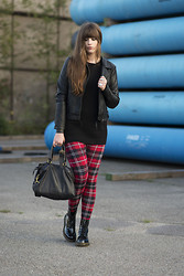 Andrea Funk / andysparkles.de - Noisy May Leather Jacket, Dr. Martens, Liebeskind Bag - Plaid & Dr. Martens