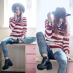 Agata P - Justfor5pounds.Com Stripes Sweater, Primark Jeans, Romwe Boots - Miles Away..