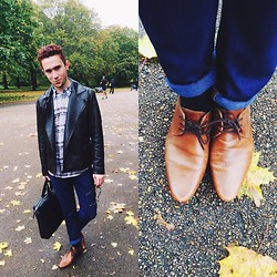 Enmanuel Oliveira - Burberry Shirt, The Kooples Brown Leather Jacket, Zara Navy Blue Trousers, Ted Baker Leather Bag, Asos Caramel Oxfords - Autumn