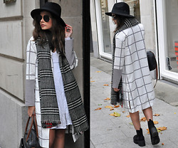 Frances Coyne - Oh Polly White Lace Long Sleeve Skater Dress, Lavish Alice Grid Print Duster Coat, Primark Black Fedora Hat, Zara Tartan Scarf, Primark Black Chunky Sole Chelsea Boots - Gridlock.