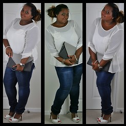 Kat Henry - Simply Be Shoes, Primark Skinny Jeans, Primark Vest, F+F Blouse, Primark Clutch - Date Night/Drinks Plus Size